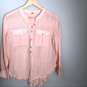 Free People Coral Button Down Top with Fringe